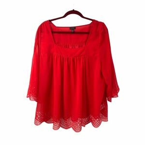 Jessica Simpson Laser Cut Scallop Detail Red Top